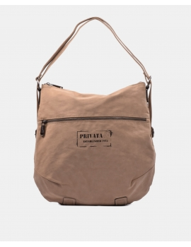 Bolso-mochila en color taupe con logotipo